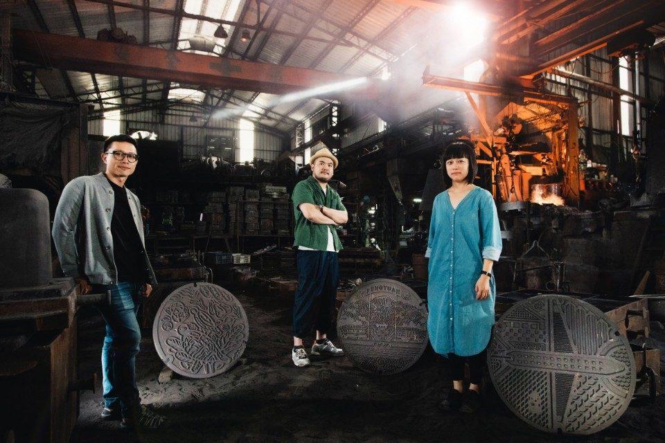 藝術家由左至右(川貝母、鄒駿昇、陳姝里)。(記者陳金泉翻攝)