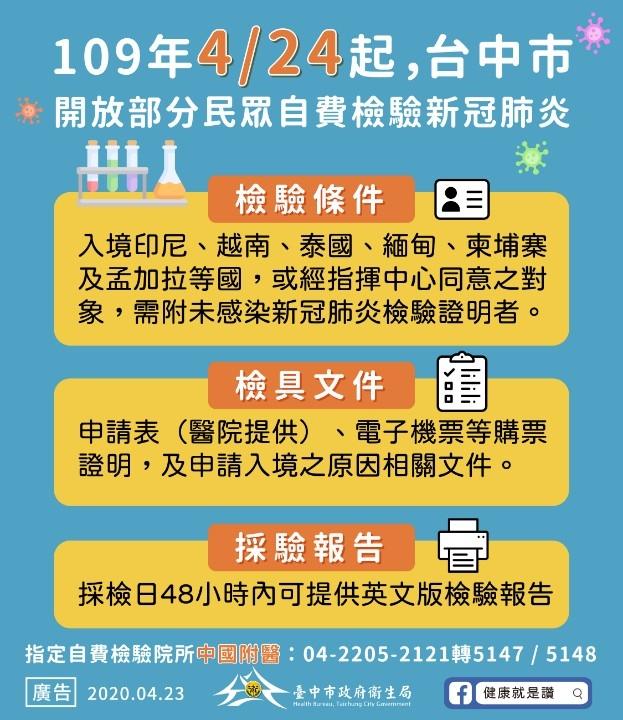 中央指定自費檢驗醫院_中市即日起受理服務。(記者白信東翻攝)