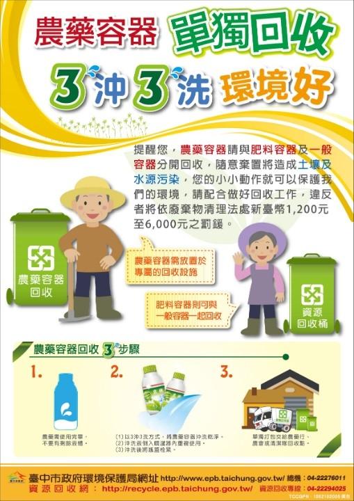 台中市「廢農藥容器巡迴回收兌換活動」宣傳海報。(記者白信東翻攝)