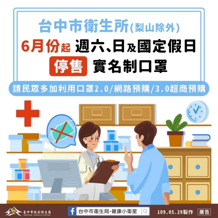 口罩購買多元化__中市61起29所衛生所恢復平日配售。(記者林俊維翻攝)